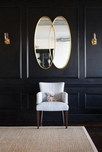 Black wainscot with mirror